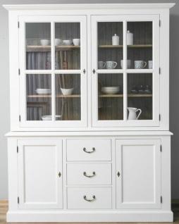 Casa Padrino Landhausstil Küchenschrank Weiß / Braun 179 x 47 x H. 225 cm - Massivholz Küchenschrank mit 4 Türen und 3 Schubladen - Landhausstil Küchenmöbel
