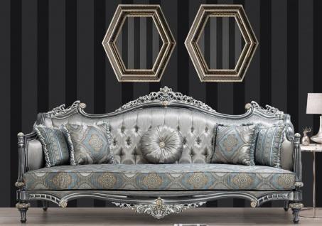 Casa Padrino Luxus Barock Sofa Silber / Türkis / Gold 248 x 96 x H. 118 cm - Prunkvolles Massivholz Wohnzimmer Sofa mit elegantem Muster und dekorativen Kissen - Barock Wohnzimmer Möbel
