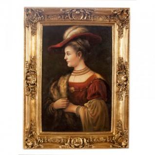 Handgemaltes Barock Öl Gemälde Rembrandt Porträt Saski Gold Prunk Rahmen 130 x 100 x 10 cm - Massives Material - Frauenporträt