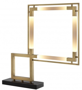 Casa Padrino Luxus LED Tischleuchte Antik Messing / Schwarz 69, 5 x 11, 5 x H. 67, 5 cm - Dimmbare Designer Tischlampe mit Marmorsockel - Luxus Kollektion