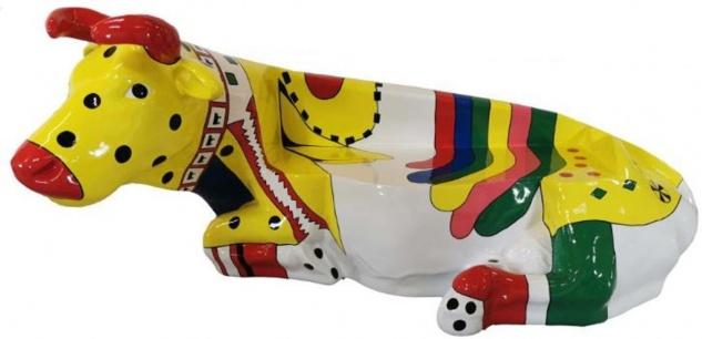 Casa Padrino Designer Sitzbank Kuh Mehrfarbig 200 x H. 98 cm - Wetterbeständige Kuh Skulptur Gartenbank - Garten & Terrassen Deko Accessoires