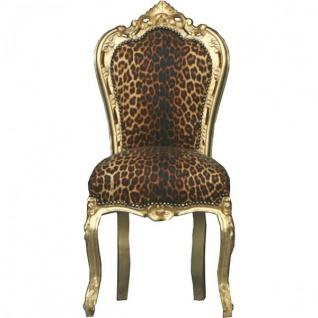 Casa Padrino Barock Esszimmer Stuhl Leopard / Gold - Möbel