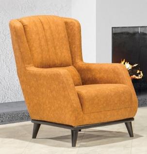 Casa Padrino Luxus Ohrensessel Hellbraun / Schwarz 80 x 80 x H. 90 cm - Moderner Wohnzimmer Sessel - Wohnzimmer Möbel