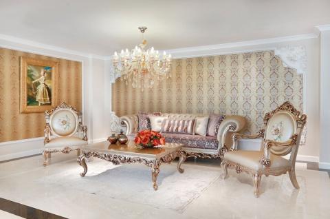 Casa Padrino Luxus Barock Wohnzimmer Set Lila / Creme / Beige / Kupferfarben - 2 Sofas & 2 Sessel & 1 Couchtisch mit Glasplatte - Wohnzimmer Möbel im Barockstil - Edel & Prunkvoll