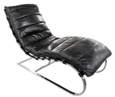 Casa Padrino Luxus Echtleder Liegesessel Schwarz / Silber 150 x 61 x H. 81 cm - Wohnzimmer Lounge Liege Relax Sessel