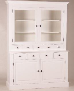 Casa Padrino Shabby Chic Landhaus Stil Schrank Buffetschrank Weiß B 155 x H 208 cm - Schrank Esszimmer