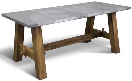 Casa Padrino Luxus Massivholz Esstisch - Verschiedene Farben & Größen - Rechteckiger Küchentisch mit zinkgrauer Eichenholz Tischplatte - Esszimmermöbel