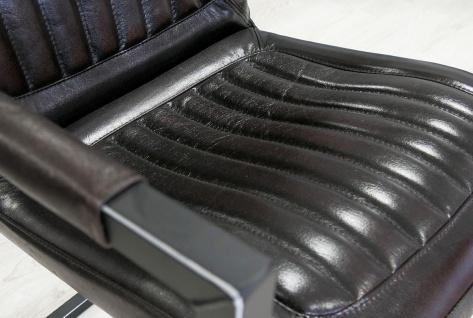 Casa Padrino Vintage Industrial Echtleder Armlehn Stuhl Industriestuhl - ALLE FARBEN - Luxus Sessel Industrie Armlehner Design Möbel Büffelleder - Vorschau 4