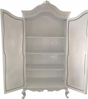 Casa Padrino Barock Kleiderschrank Weiß Hochglanz B 110 x H 230 cm Schlafzimmer Schrank - Antik Stil - Vorschau 5