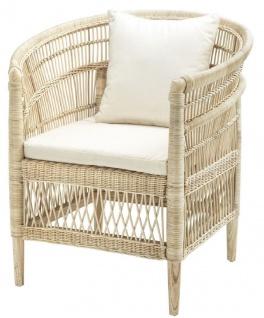 Casa Padrino Luxus Rattan Sessel mit Kissen Naturfarben / Cremefarben 77 x 67, 5 x H. 86, 5 cm - Luxus Wohnzimmer Möbel