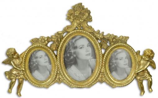 Casa Padrino Barock 3er Bilderrahmen mit dekorativen Engelsfiguren Gold 38, 1 x H. 23, 4 cm - Edel & Prunkvoll