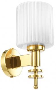 Casa Padrino Luxus Wandleuchte Gold / Vintage Weiß 13 x 18 x H. 28, 5 cm - Hotel & Restaurant Wandlampe mit Glas Lampenschirm