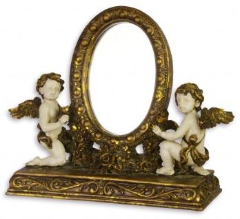 Casa Padrino Barock Schminktisch Spiegel mit Engeln Antik Gold / Weiss - Creme B.28, 7 x H.23, 9 x T.9, 5 cm - Edel & Prunkvoll