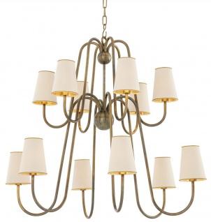 Casa Padrino Luxus Jugendstil Kronleuchter Vintage Messingfarben / Weiß / Gold 76 x 76 x H. 76 cm - Barock & Jugendstil Kronleuchter