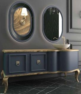 Casa Padrino Luxus Barock Badezimmer Set Naturfarben / Blau - 1 Waschtisch mit 2 Türen und 1 Waschbecken und 2 Wandspiegel - Prunkvolle Badezimmermöbel