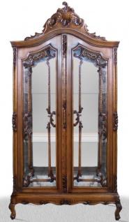 Casa Padrino Barock Vitrinenschrank 100 x 40 x H. 200 cm - Barock Wohnzimmerschrank