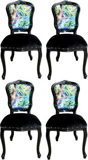 Casa Padrino Luxus Barock Esszimmer Set Comic Mehrfarbig / Schwarz 55 x 54 x H. 103 cm - 4 handgefertigte Esszimmerstühle - Designer Stühle - Barock Esszimmermöbel