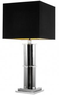 Casa Padrino Luxus Tischleuchte silber mit schwarzem Lampenschirm - Designer Wohnzimmer Tischlampe