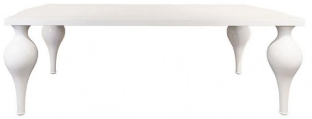 Casa Padrino Neoklassik Esstisch Hochglanz Weiß 220 x 110 x H. 75, 5 cm - Massivholz Küchentisch - Esszimmer Möbel im Neoklassischem Stil