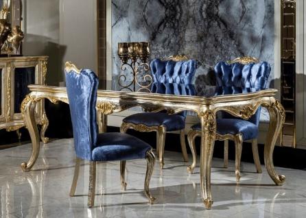 Casa Padrino Luxus Barock Esszimmer Set Blau / Silber / Gold - 1 Esstisch & 6 Esszimmerstühle - Barock Esszimmer Möbel - Edel & Prunkvoll