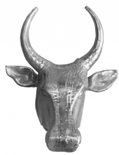 Casa Padrino Designer Stierkopf Höhe: 70 cm, Breite: 58 cm, Tiefe: 42 cm edle Skulptur aus Aluminium, poliert - Edel & Prunkvoll