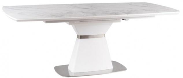 Casa Padrino Luxus Esstisch Weiß / Matt Weiß / Silber 160-210 x 90 x H. 76 cm - Moderner ausziehbarer Esszimmertisch mit Keramikplatten in Marmoroptik - Esszimmer Möbel