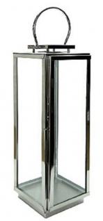 Casa Padrino Luxus Laterne mit Tragegriff Silber 20 x 20 x H. 56 cm - Deko Accessoires