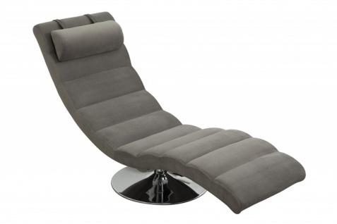 Designer Liege Relax Sessel Grau / Chrom von Casa Padrino - Designer Liege