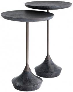 Casa Padrino Luxus Beistelltisch Set Grau / Bronze Ø 35 cm - Runde Marmor Tische - Luxus Wohnzimmer Möbel