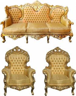 Casa Padrino Barock Wohnzimmer Set Versailles II Gold Muster / Antik Gold - 3er Sofa + 2 Sessel