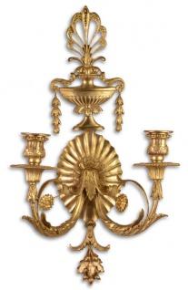 Casa Padrino Barock Wandkerzenhalter Gold 29, 5 x 16 x H. 53, 5 cm - Wohnzimmer Deko im Barockstil