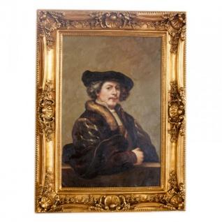 Handgemaltes Barock Öl Gemälde Portraet Rembrandt 2 Gold Prunk Rahmen 130 x 100 x 10 cm - Massives Material - Selbstporträt