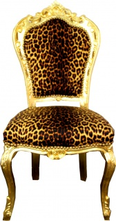 Casa Padrino Barock Esszimmer Stuhl Leopard / Gold - Barock Möbel Antik Stil