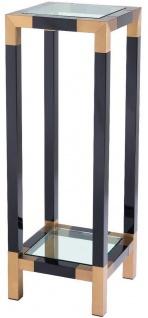 Casa Padrino Luxus Säule Schwarz / Messingfarben 35 x 35 x H. 100 cm - Edelstahl Beistelltisch mit Glasplatten - Luxus Möbel