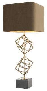 Casa Padrino Luxus Tischleuchte Vintage Messingfarben / Braun 40 x H. 98 cm - Designer Tischlampe