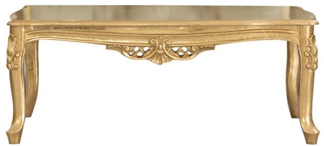 Casa Padrino Luxus Barock Massivholz Couchtisch Gold - Handgefertigter Wohnzimmertisch im Barockstil - Barock Wohnzimmer Möbel - Vorschau 2