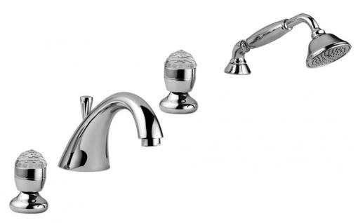 Luxus Badewannen Armaturen Set 4-Loch Kombination Silber - Badezimmer Badewannenarmaturen mit Swarovski Kristallglas