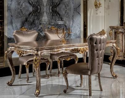 Casa Padrino Luxus Barock Esszimmer Set Silber / Antik Silber / Braun / Gold - 1 Esstisch & 6 Esszimmerstühle - Barock Esszimmer Möbel - Edel & Prunkvoll