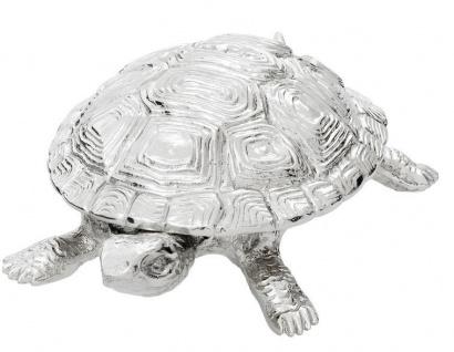 Casa Padrino Luxus Schatulle mit Deckel Schildkröte Messing vernickelt 26, 5 x 15 x H. 8 cm - Luxus Dekoration