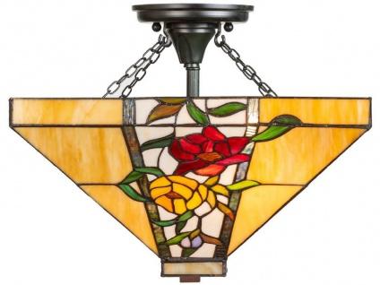 Casa Padrino Luxus Tiffany Deckenleuchte Mehrfarbig 40 x 40 x H. 34 cm - Tiffany Lampe mit Blumendesign und handgefertigtem Glas Lampenschirm