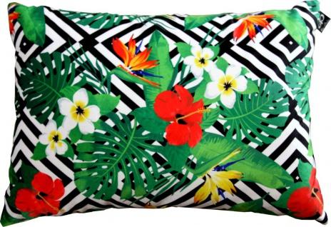 Casa Padrino Luxus Kissen Miami Flowers Schwarz / Weiß / Mehrfarbig 35 x 55 cm - Feinster Samtstoff - Wohnzimmer Deko Zierkissen