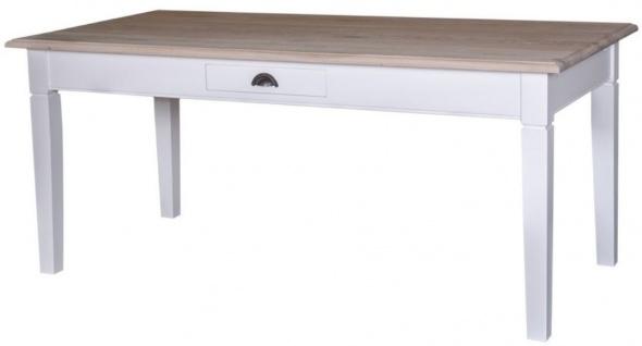 Casa Padrino Landhausstil Küchentisch Weiß / Naturfarben - Verschiedene Größen - Landhausstil Esstisch mit Schublade