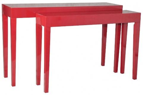 Casa Padrino Luxus Konsolen 2er Set Rot - Handgefertigte Lackmöbel