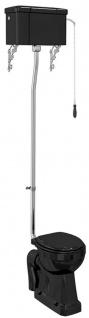 Casa Padrino Luxus Jugendstil WC mit Hänge Spülkasten Schwarz 52 x 67 x H. 238 cm - Badezimmer Möbel - Luxus Qualität