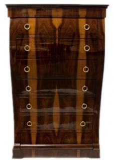 Casa Padrino Art Deco Kommode mit 6 Schubladen Braun / Hellbraun 95 x 45 x H. 155 cm - Mahagoni & Wurzelholz Schubladenschrank - Wohnzimmerschrank - Art Deco Möbel - Vorschau 2