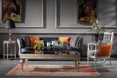 Casa Padrino Luxus Barock Couchtisch Schwarz / Silber - Prunkvoller Massivholz Wohnzimmertisch mit Glasplatte - Barock Wohnzimmer Möbel - Vorschau 2