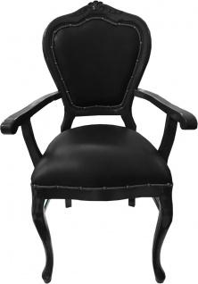 Casa Padrino Barock Luxus Echtleder Esszimmer Stuhl Schwarz / Schwarz mit Armlehnen - Handgefertigte Möbel mit echtem Leder