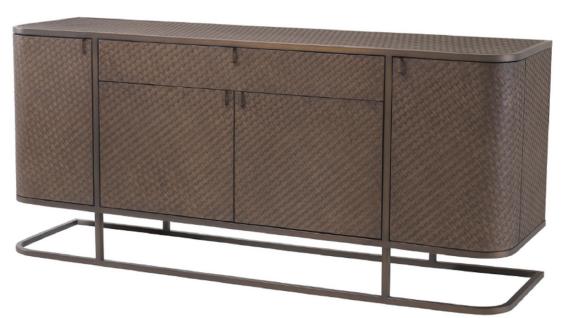 Casa Padrino Luxus Kommode mit 4 Türen und Schublade Braun / Bronze 170 x 46 x H. 75 cm - Luxus Qualität