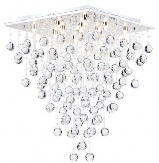 Casa Padrino Designer Deckenleuchte Silber 50 x 50 x H. 65 cm - Moderne chrombeschichtete Deckenlampe mit Kristall Ketten
