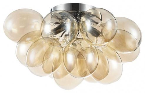 Casa Padrino Deckenleuchte Cognac / Silber 38 x 38 x H. 25 cm - Wohnzimmer Deckenlampe